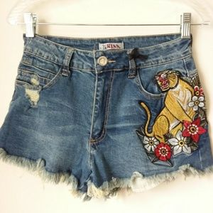 1st Kiss | Blue Tiger Graphic Shorts
